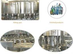 Линия розлива воды, различныъ видов напитков в ПЭТ бутылок
